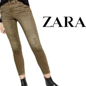 Zara Olive Moto Ankle Zip Distressed Skinny Jean